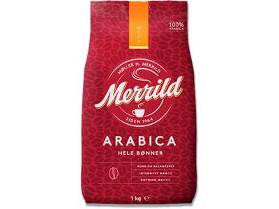 Kaffe, Hele bønner, Mellemristet, 1000 g, Merrild Arabica