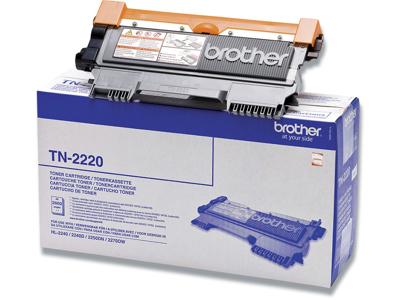 Toner, TN2220, Black-sort, 2.600 sider, Brother