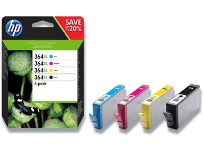 Blækpatroner, 4 stk, Sort: 550 sider Farver: 750 sider, 4 farver, HP HP 364XL