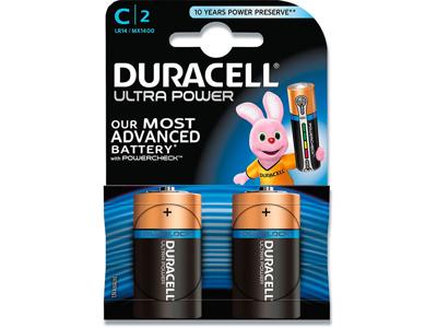 Batterier, 2 stk, Ikke genopladelig, 1.5 V, Duracell Ultra Power C