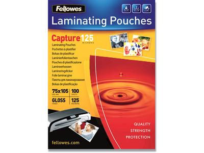 Lamineringslommer, 75x105 mm, 125 mic, 100 stk, Fellowes Gloss