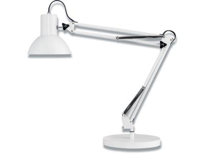 Bordlampe, Hvid, Med fod og klemme, 11W E27, Unilux Success 80