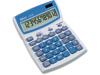 Regnemaskine, Standard, 12 cifre, Hvid-Blå, Ibico 212X