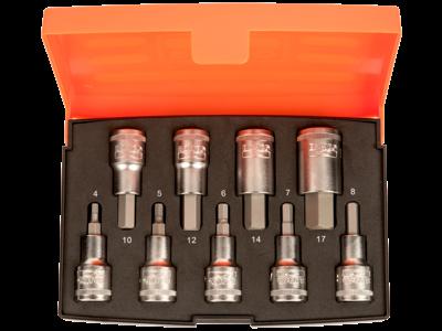 """Inhex-topsæt 1/2"""" 4kt, 9 korte toppe 4-17mm"""