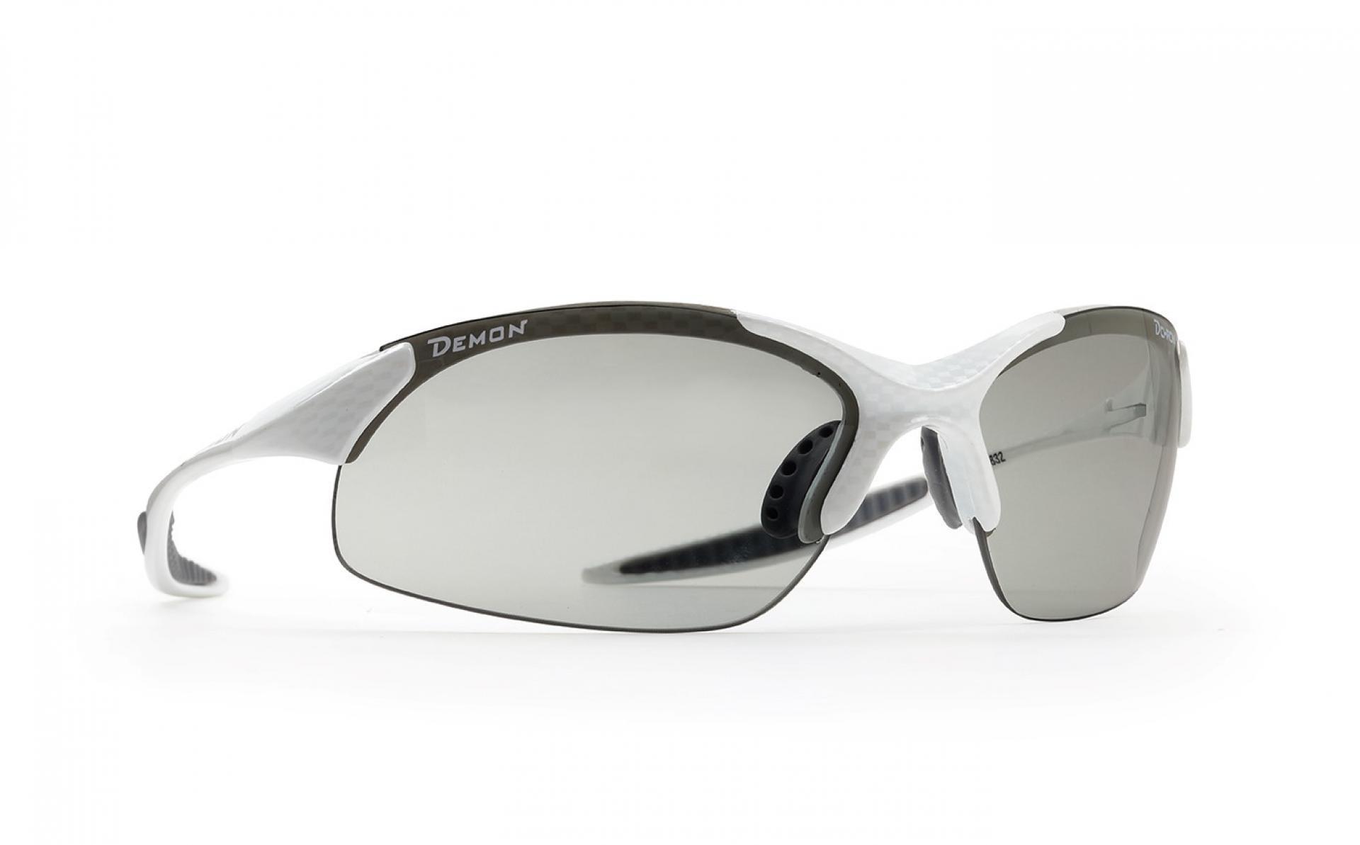 Demon 832 DCHROM - Løbe- og cykelbrille med fotokromisk linse - Carbon look/hvid   Glasses