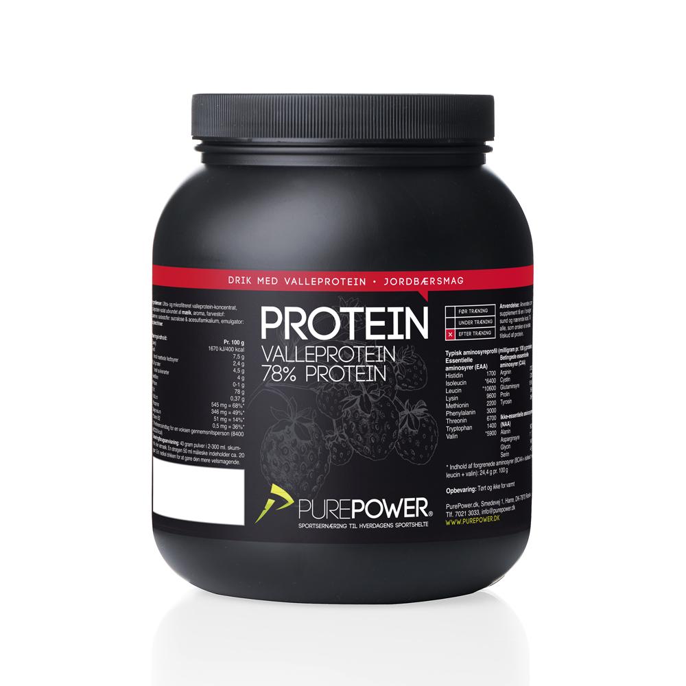 PurePower Proteinpulver - Valleproteindrik - Jordbær 1 kg   Proteinbar og -pulver