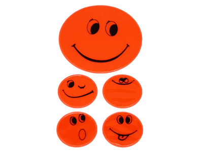 Reflexark med smileys Orange