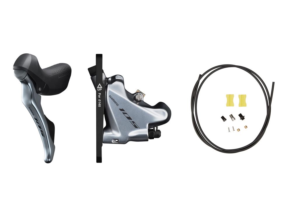 Image of   Shimano 105 STI og hydraulisk bremsegreb venstre sølv - ST-R7020L og BR-R7070F