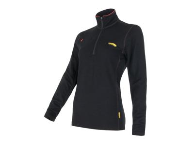 Sensor Merino Fleece Sweatshirt - Dame - Lynlås i halv længde - Sort