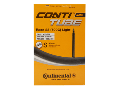 Continental Race 28 Light - Cykelslange - Str. 700x20-25c - 80 mm racerventil
