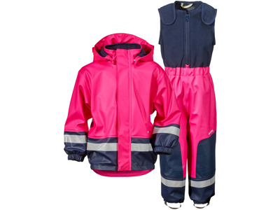 Didriksons Boardman Kids Set - Fleeceforet regntøj - Pink