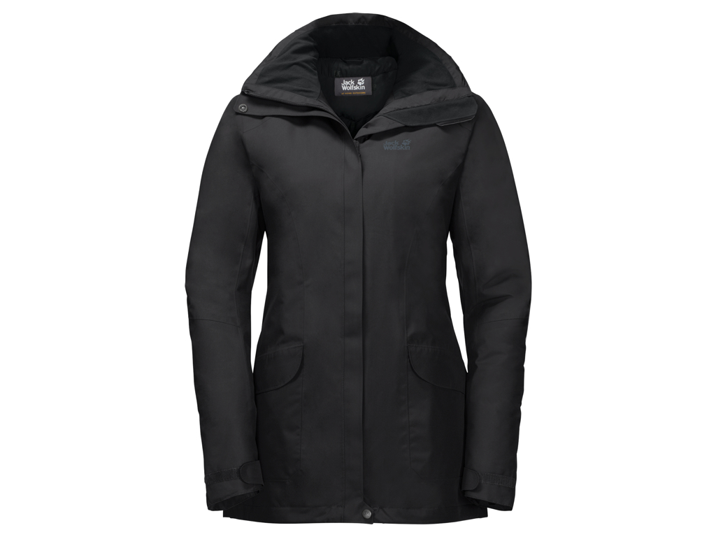 Image of   Jack Wolfskin Kiruna Trail JKT Women - Vandtæt damejakke m. for - Sort - Str. XL