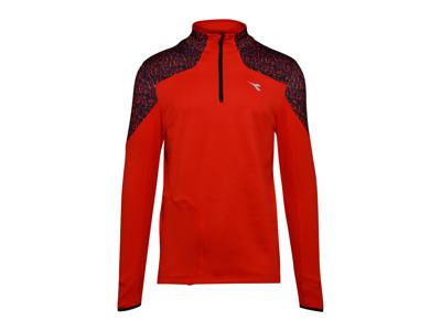 Diadora Warm Up T-Shirt Winter - Løbetrøje m. høj hals - Mørke Rød - Herre