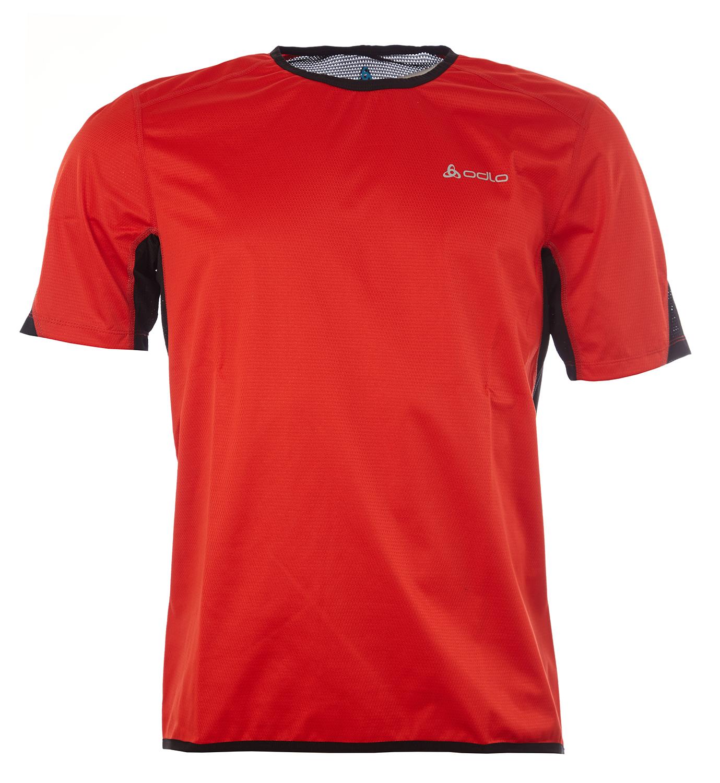 Odlo - Shirt s/s crew neck - Vindtæt løbe t-shirt - Herre - Rød - Str. L | Jerseys