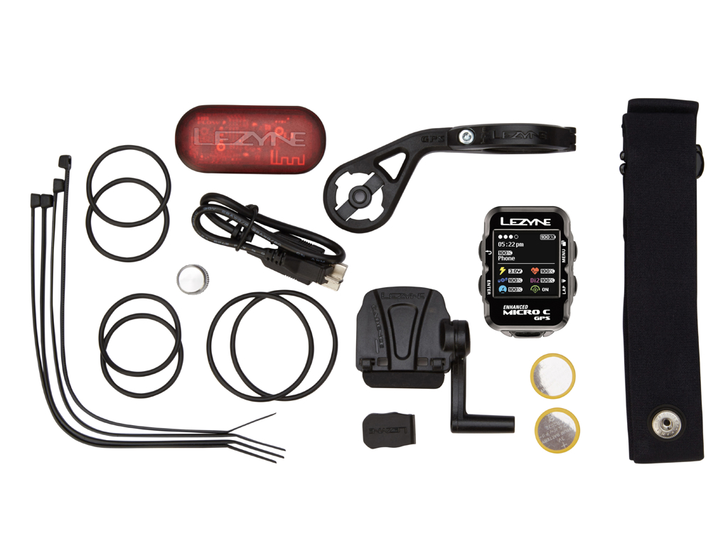 Lezyne Micro Color GPS HRSC Loaded - Cykelcomputer - Bundle med pulsbælte og sensorer thumbnail