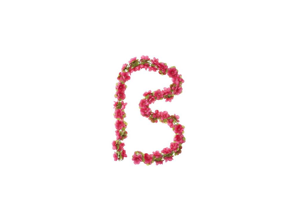 Blomsterkrans Rosa plast til cykelkurv thumbnail