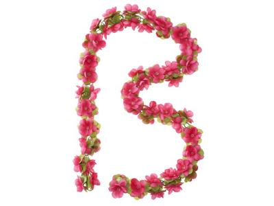 Blomsterkrans Rosa plast til cykelkurv