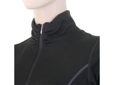 Sensor Merino Active Tee LS Zip - Uldundertrøje med høj hals - Dame - Sort