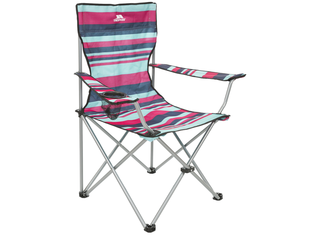 Image of   Trespass Branson - Foldbar campingstol med drinksholder - Tropical Stripe