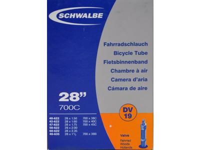 """Schwalbe slange 700x38-62c & 27/29""""med almindelig ventil DV19"""