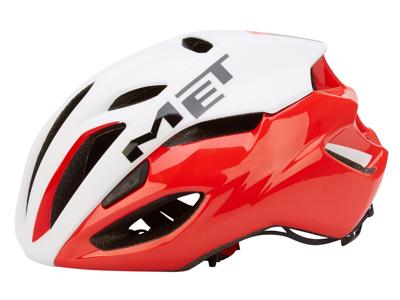 MET Rivale cykelhjelm - Hvid/rød - str. 54-58 cm