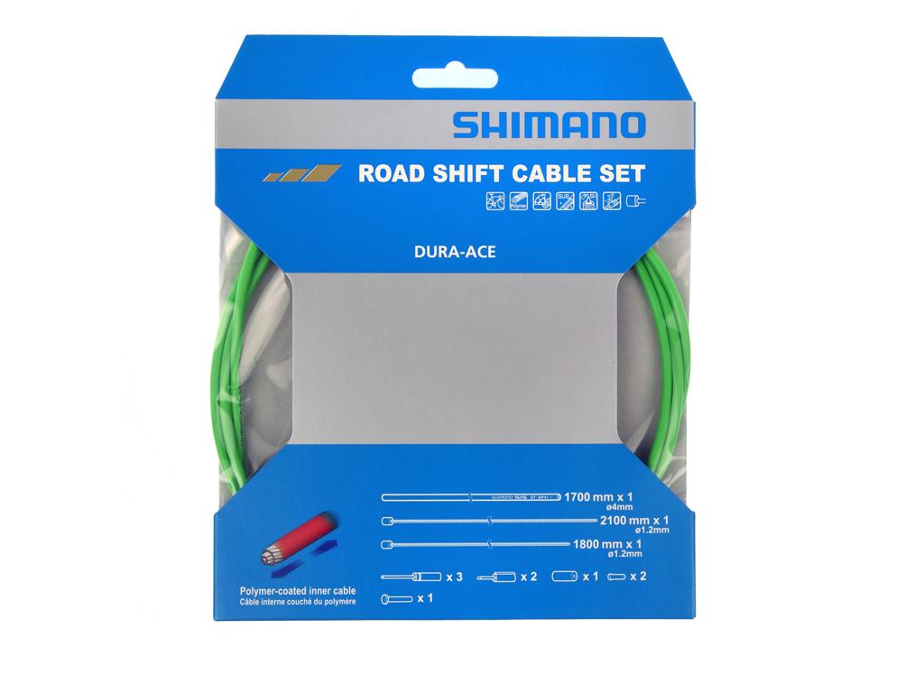Image of   Shimano Dura Ace gearkabelsæt - Road Polymer - For-og bagskifter kabel komplet - Grøn