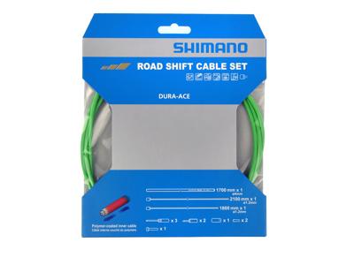 Shimano Dura Ace gearkabelsæt - Road Polymer - For-og bagskifter kabel komplet - Grøn
