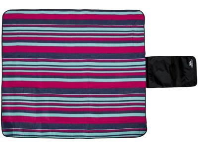Trespass Throw - Picnic tæppe - Vandtæt bund - Stribet - 135 x 120 cm.