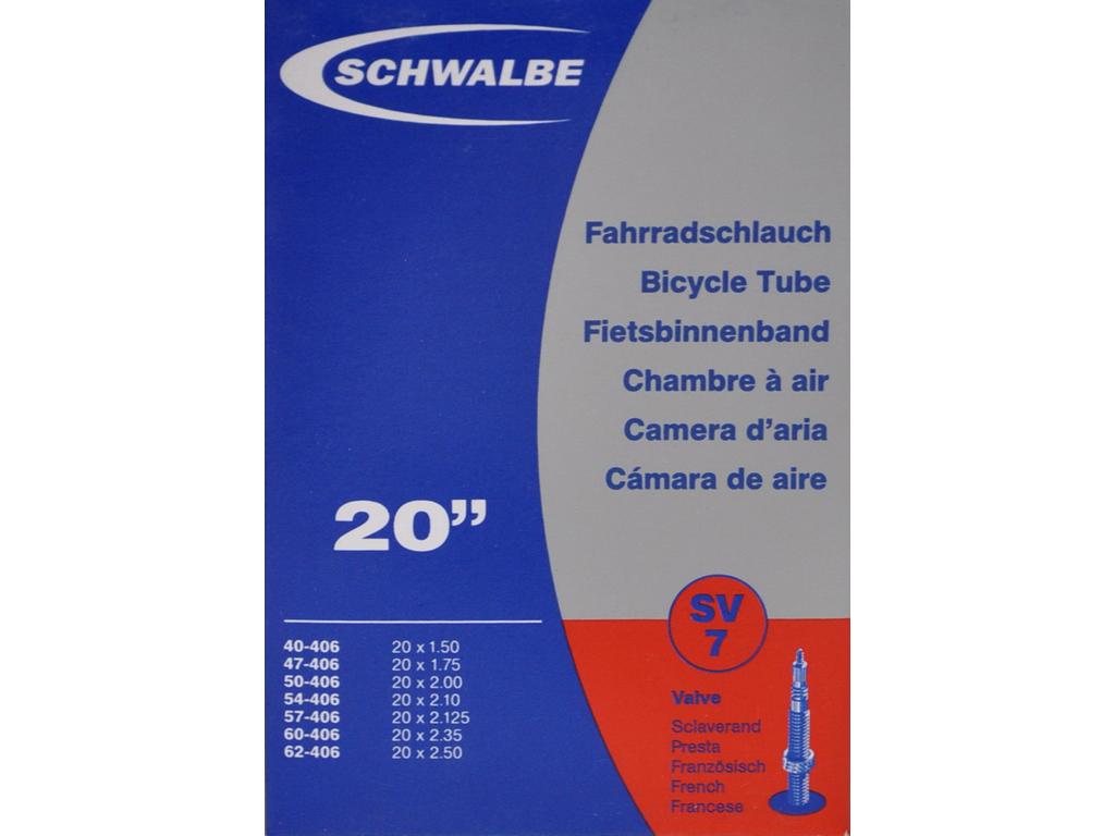 Schwalbe slange 20 x 1,50-2,50 med Racer ventil SV7