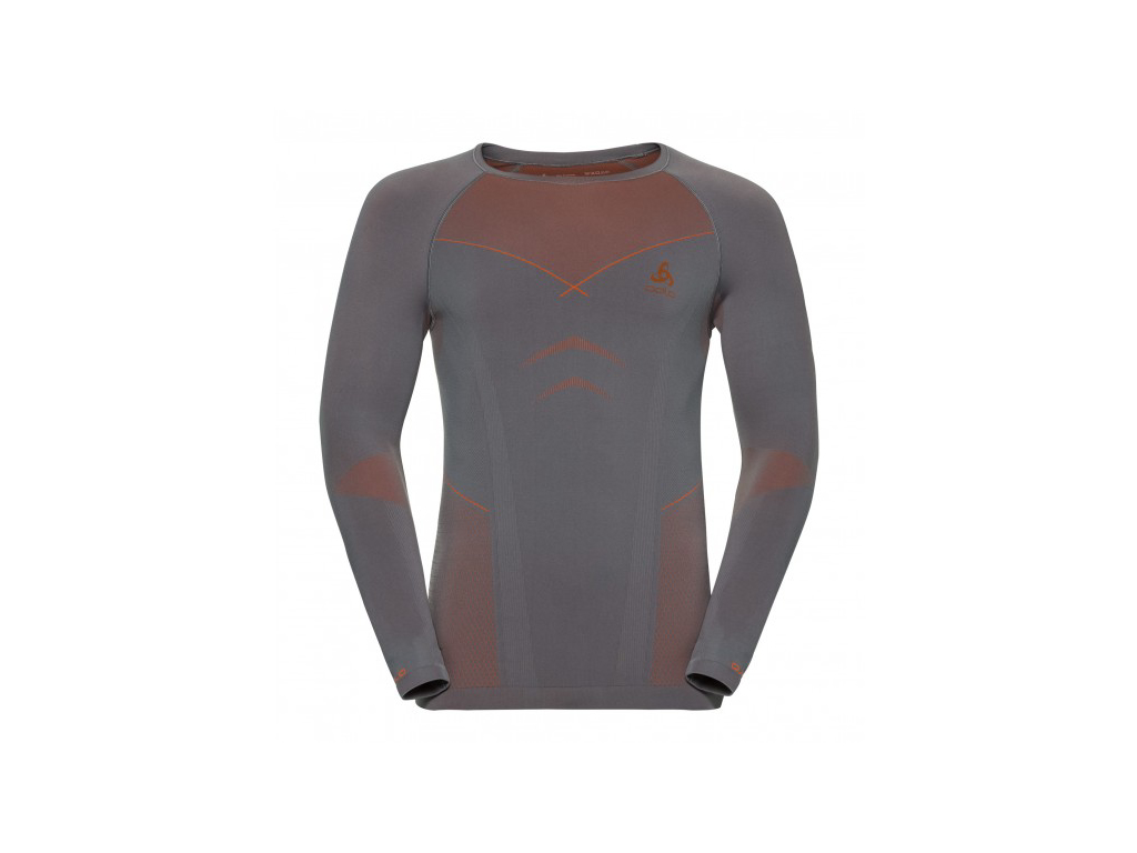 Image of   Odlo - Evolution warm shirt crew neck - Herre - Grå/orange - Str. XL