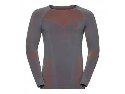 Odlo - Evolution Warm Shirt Crew Neck - Herre - Grå/Orange