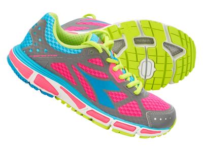 Diadora dame løbesko - N-4100-2 W Bright - Grå/Pink/Turkis
