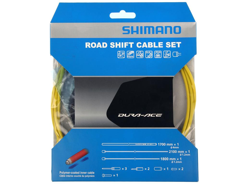 Image of   Shimano Dura Ace gearkabelsæt - Road Polymer - For-og bagskifter kabel komplet - Gul
