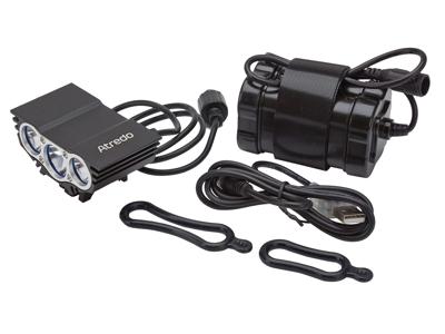 Atredo - MTB Framlykta - 3600 Lumen - USB uppladdningsbar - Svart