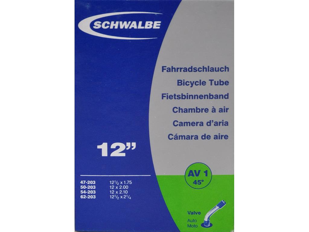 Schwalbe slange 12 1/2 x 2.1/4 med 45 graders bøjning Auto ventil AV1 thumbnail