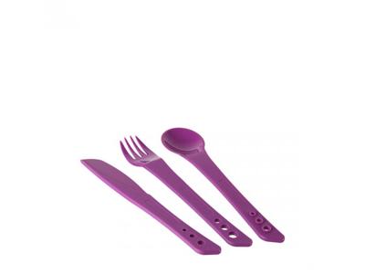 LifeVenture Ellipse Cutlery Set - Letvægts bestiksæt plastik med 3 dele -Lilla