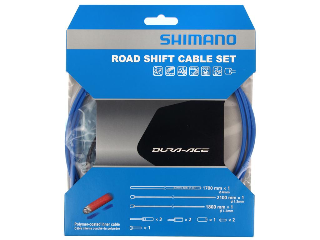 Image of   Shimano Dura Ace gearkabelsæt - Road Polymer - For-og bagskifter kabel komplet - Blå