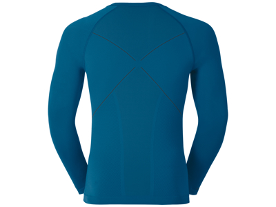 Odlo langærmet bluse - Herre - Crew Neck Evolution Warm - Sort/blå