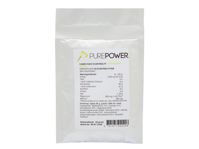 PurePower Carbo Race Elektrolyt - Energidrik - Citrus - 50 gram
