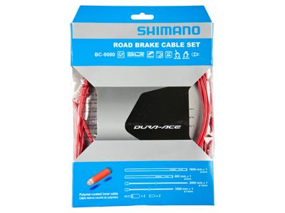 Shimano Dura Ace Bremsekabelsæt - Road Polymer - For-og bagbremsekabel komplet - Rød