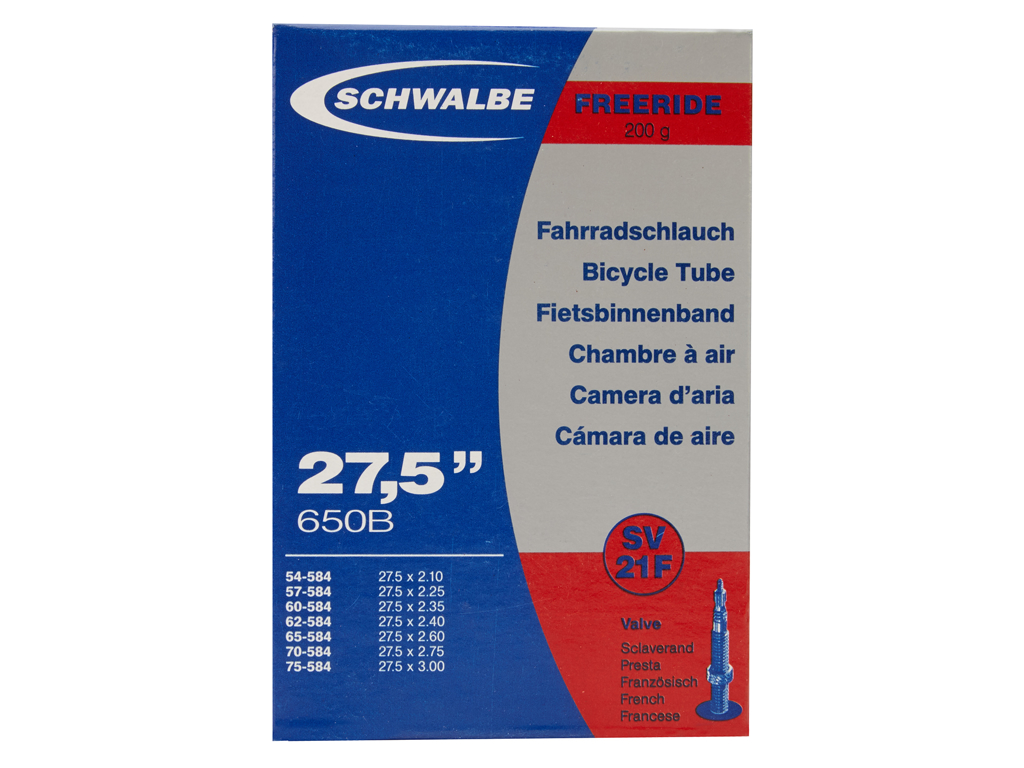 Schwalbe slange 27,5x2,10/3,00 med Racer ventil SV21F