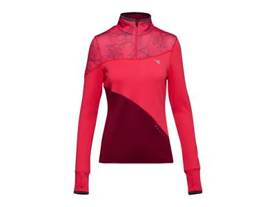 Diadora L. Warm Up T-Shirt Winter - Løbetrøje m. høj hals - Mørke Rød