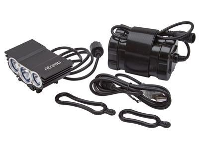 Atredo - MTB Framlykta - 3000 Lumen - USB uppladdningsbar - Svart