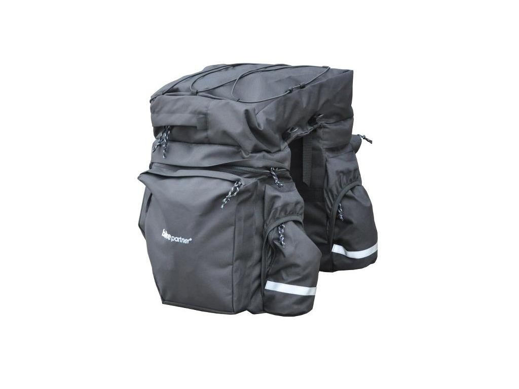 Image of   BikePartner - Caroline - Cykeltaske til bagagebærer -Sort - 3 delt 40 liter