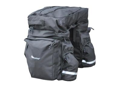 BikePartner - Caroline - Cykeltaske til bagagebærer -Sort - 3 delt 40 liter