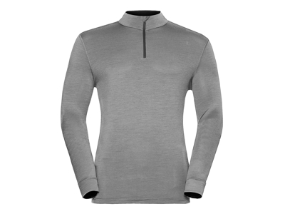 Odlo - Natural 100 Merino Shirt Turtle Neck - Herre - Grå melange/Sort