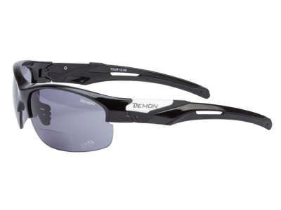 Demon Tour - Løbe- og cykelbrille med læsefelt - Smoke linse - sort