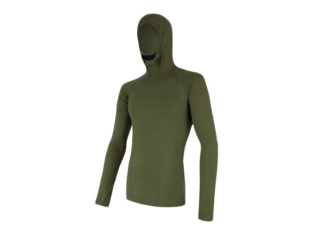 Sensor Merino DF Tee LS Hood - Uldundertrøje m. hætte- Herre - Grøn - Str. XXL thumbnail