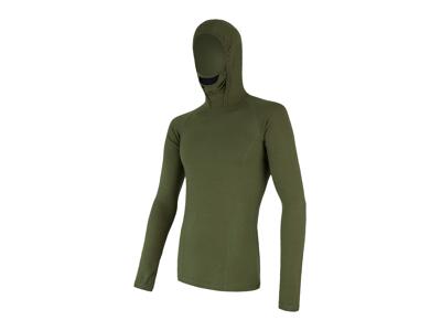 Sensor Merino DF Tee LS Hood - Uldundertrøje m. hætte- Herre - Grøn