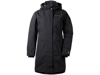 Didriksons Eline Womens Parka - Vandtæt damejakke m. for - Sort - Str. 44